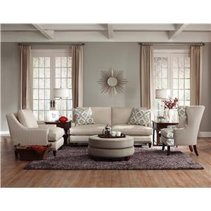 Elliston Place Duchess Transitional Nail Head Wing Back Loveseat with Blend Down Cushions