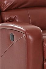 Power button and release handle are conveniently located on the side of the recliner.