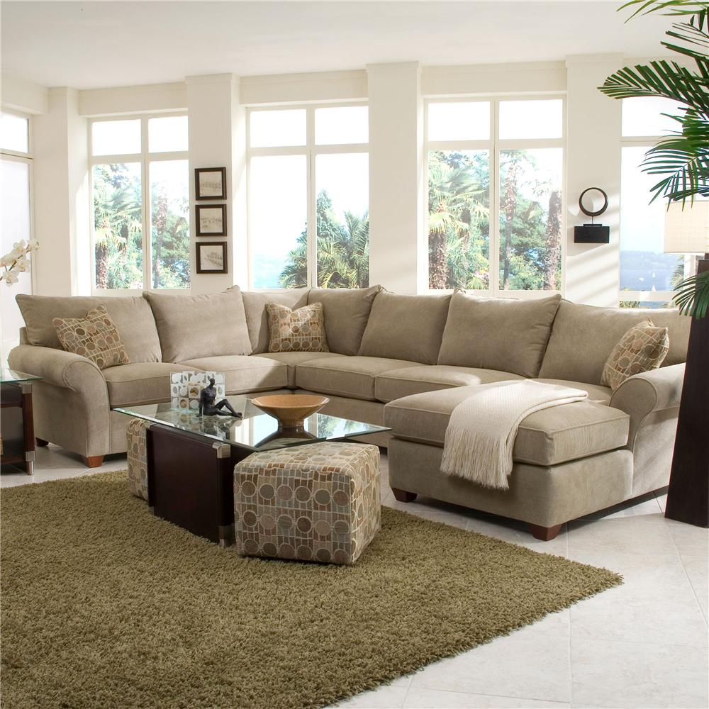 Klaussner Fletcher Spacious Sectional With Chaise Lounge Wayside  ~ Sectional Sofa Chaise Lounge