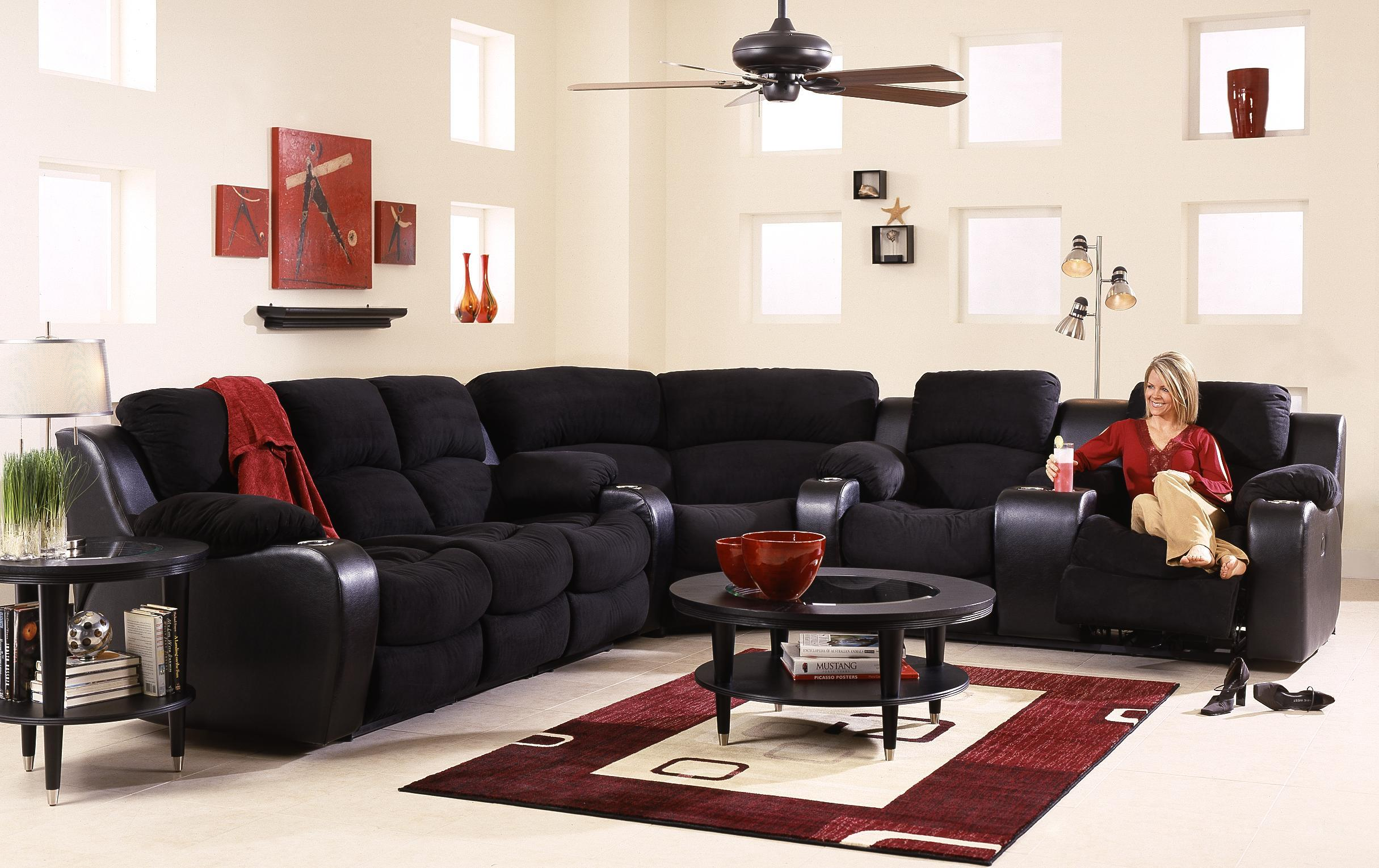 Klaussner Grand Reclining Sectional Sofa With Console Wayside