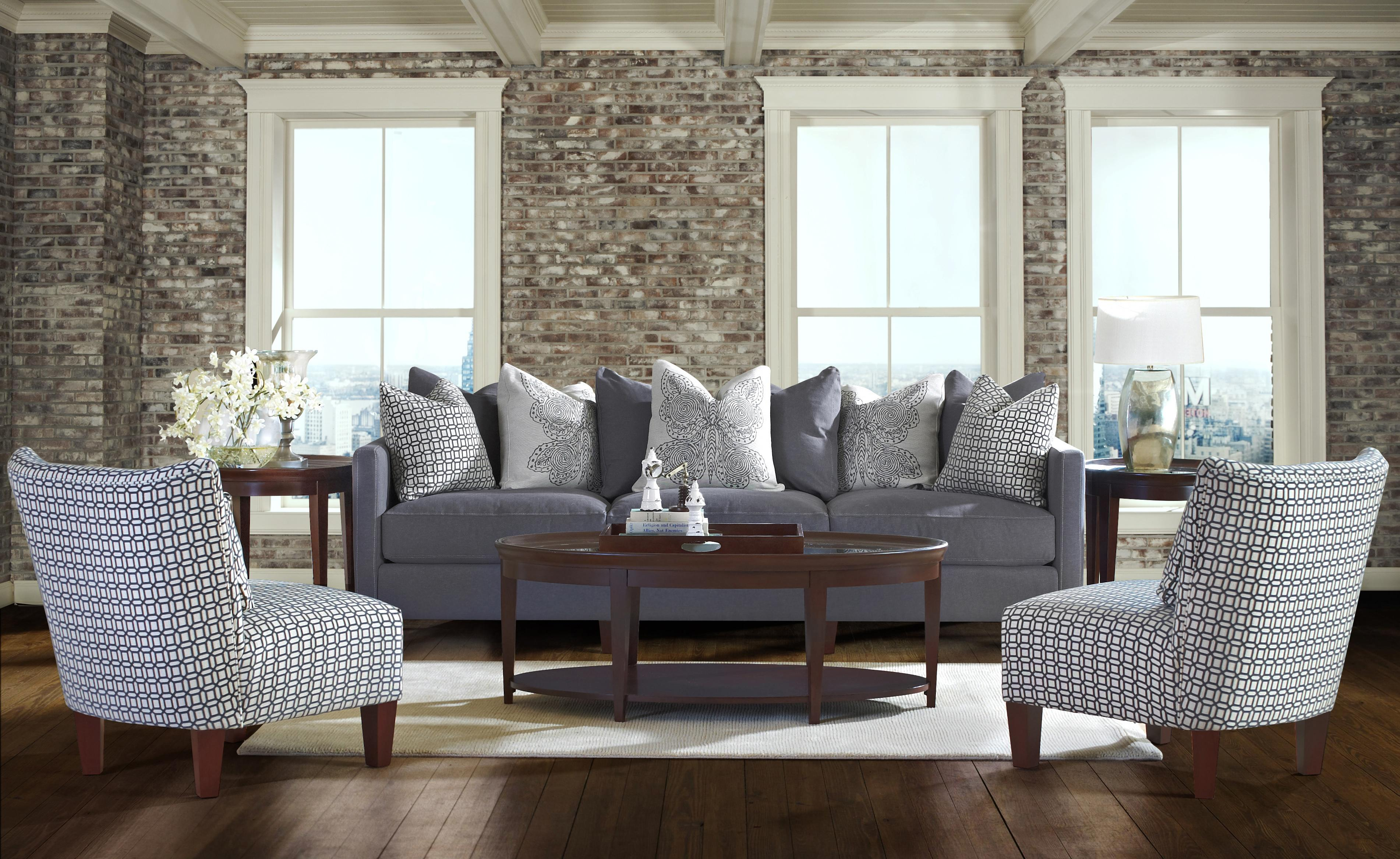 Klaussner Jordan Contemporary Tuxedo Back Sofa with Bolster