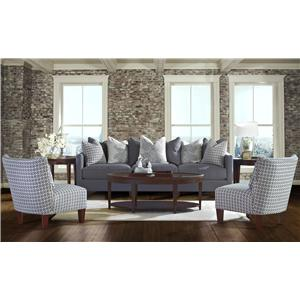 Elliston Place Jordan Large 3 Cushion Tuxedo Arm Sofa with Scatterback