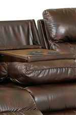 Drop-Down Table and Cupholders in Middle Sofa Cushion