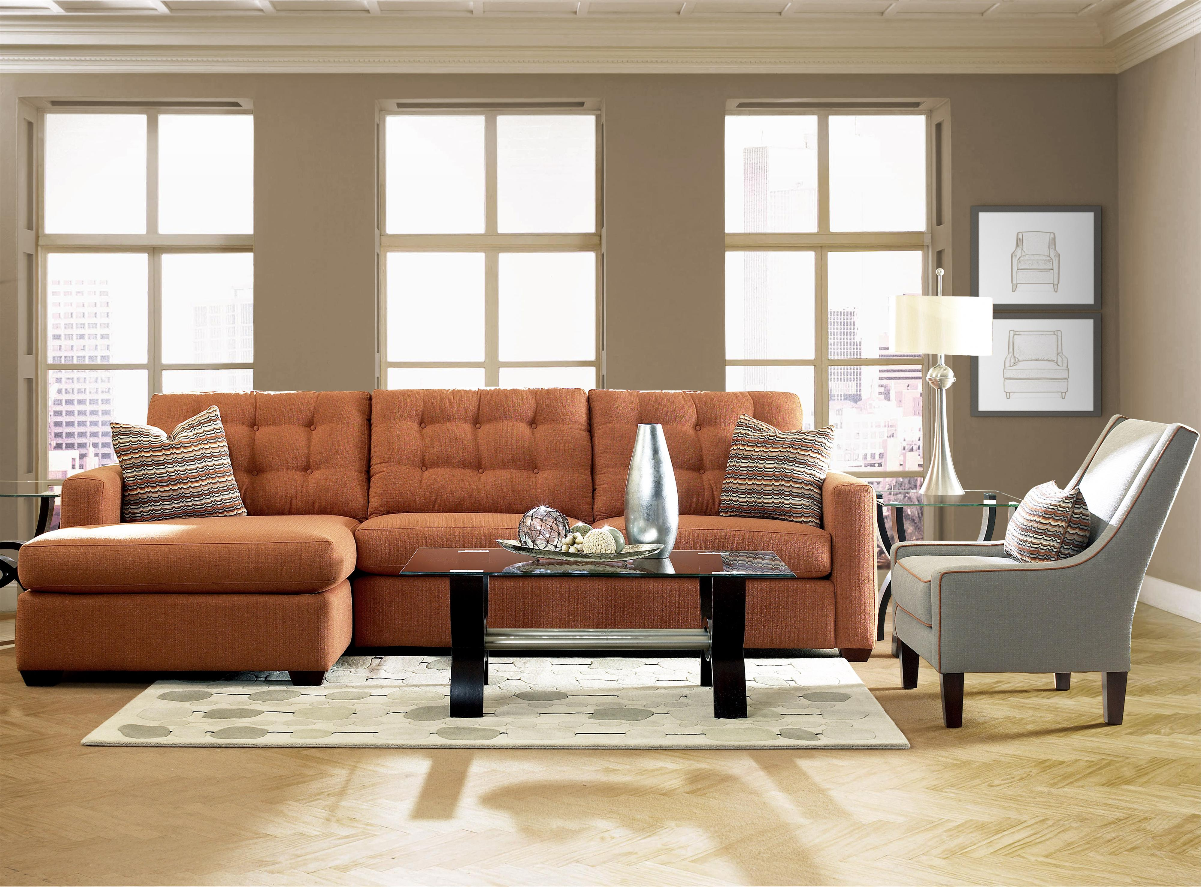 Sectional Sofas Living Room Klaussner Lido Contemporary Sectional Sofa With Left Facing Chaise