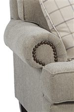 Rolled Arms with Pleats and Nailhead Trim