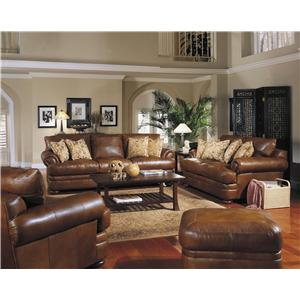 Klaussner Montezuma Leather Sofa With Rolled Arms