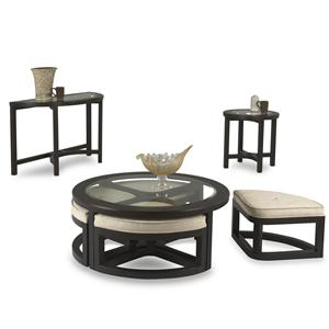 Klaussner International Ringlet Round Cocktail Table with 4 Upholstered Seats