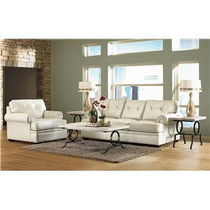 Elliston Place Semora Transitional 3 Over 3 Sofa with Button Tufting and Panel Arms