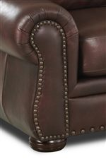 Rolled & Pleated Armrests with Nail Head Trim