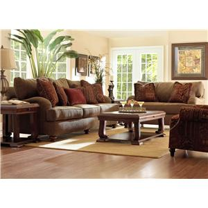 klaussner walker upholstered ottoman with exposed wood feet - Upholstered Ottoman