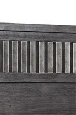 Metal Detail on Headboard Mimics the Look of Corrugated Iron