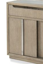 Chrome Door and Drawer Pulls Create a Chic Complement on This Contemporary Design
