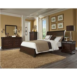 Klaussner International Parkview Queen Sleigh Headboard Bed with Low Profile Footboard