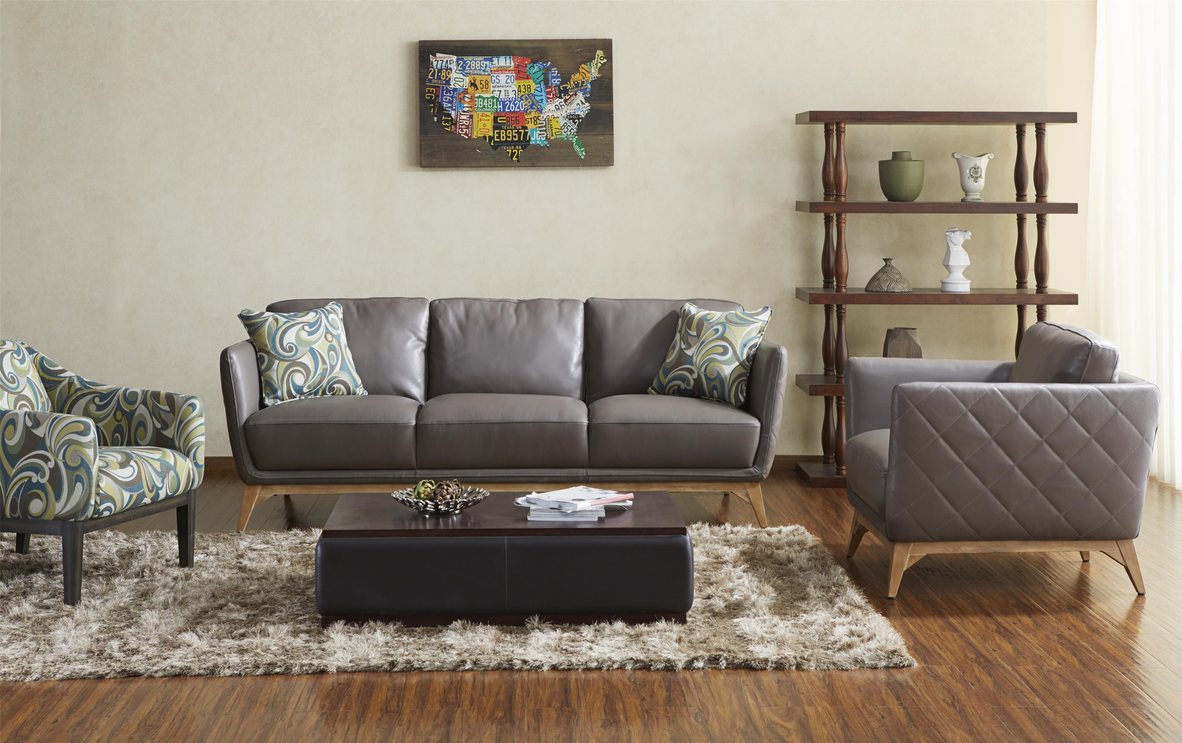 Kuka Home 1961 Contemporary Leather Match Sofa Wilson s