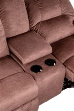 Reclining Loveseat Comes with Built-In Storage for Remote Controls and Two Cupholders