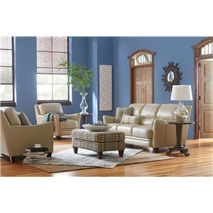 La-Z-Boy GRAHAM Contemporary Leather Loveseat with Flared Arms