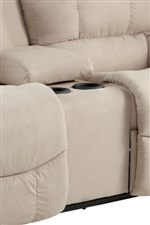 Console with Storage and Cup Holder Featured on Select Loveseats