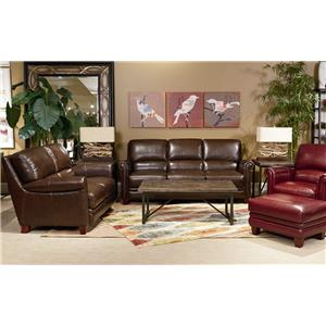 La-Z-Boy JULIUS Leather Chair and Ottoman Set with Bustle Back and Rolled Arms