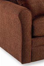 Flared rolled arms, padded cushions, and square bases add stylish appeal.