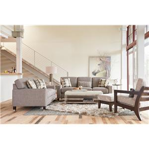 La-Z-Boy UPTOWN Contemporary Premier Sofa with Modern Metal-Capped Legs