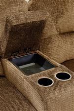 Console Component Provides Two Cup Holders and Internal Storage