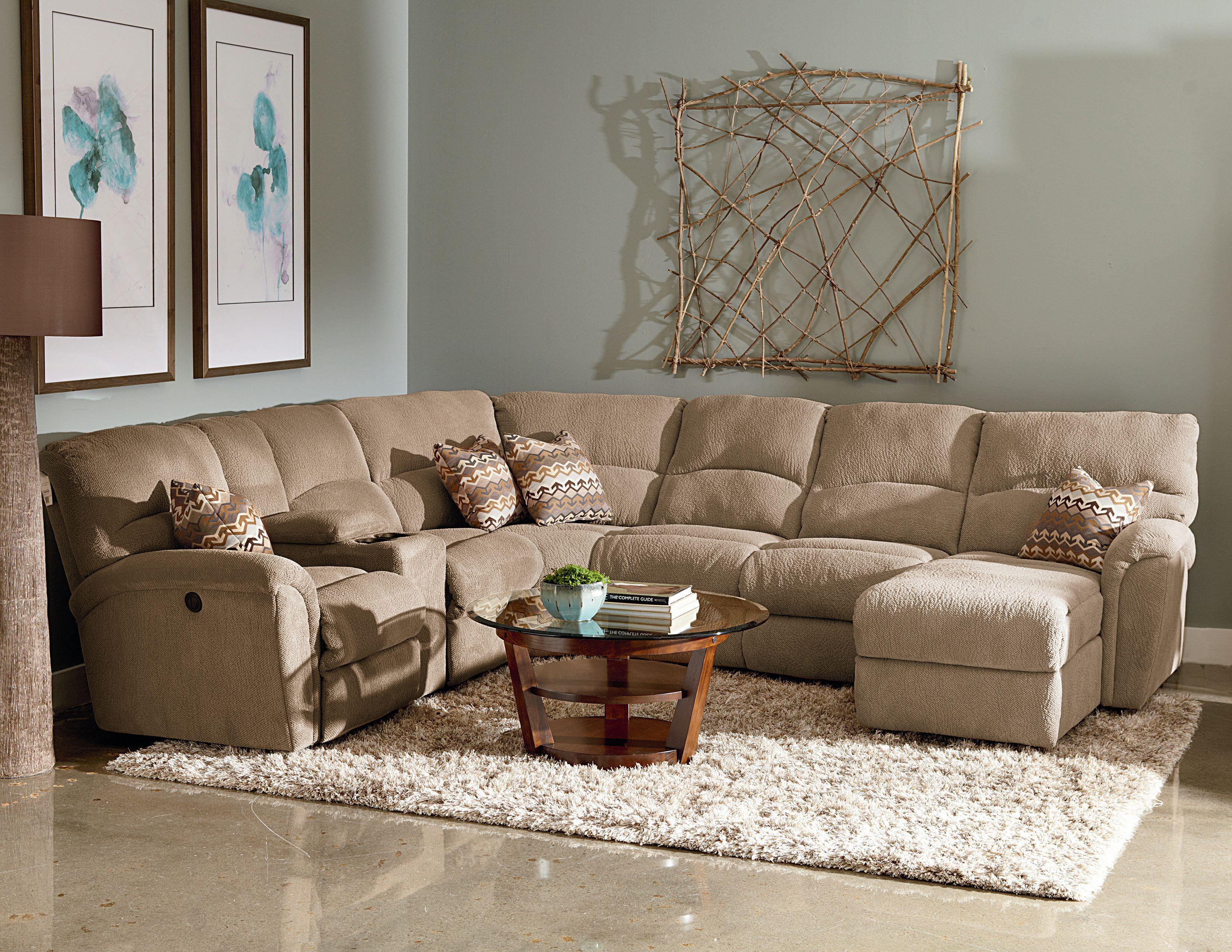 Lane Grand Torino Casual Four Piece Power Sectional Sofa w Full