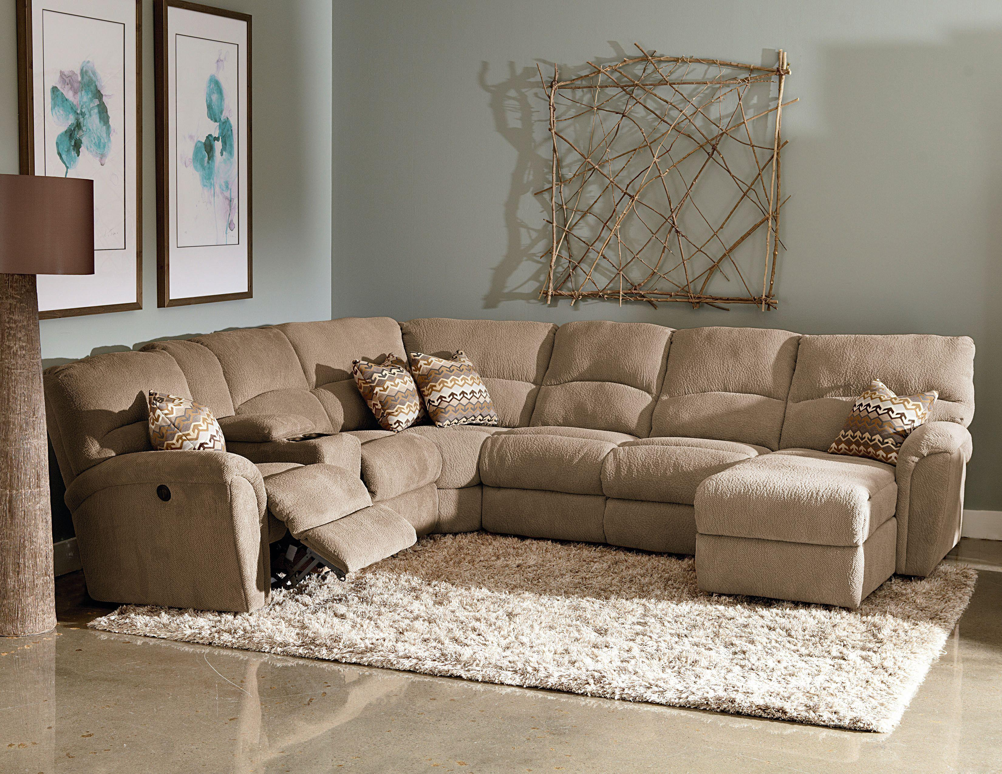 Lane Grand Torino Casual Four Piece Sectional Sofa W Full Sleeper And Drink Console Westrich Furniture Liances Reclining Sofas