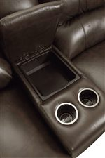 Console Provides Convenient Storage for Remotes and Beverages