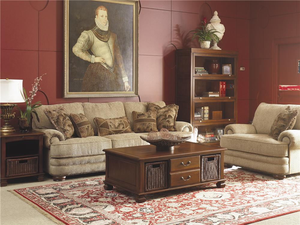 Lane Stanton Stationary Sofa With Nailhead Trim And Wood Accents | Westrich  Furniture U0026 Appliances | Sofas
