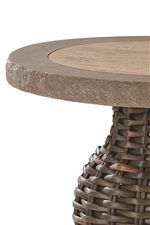 Various Table Tops Used Throughout Collection Include Stone, Woven and Glass