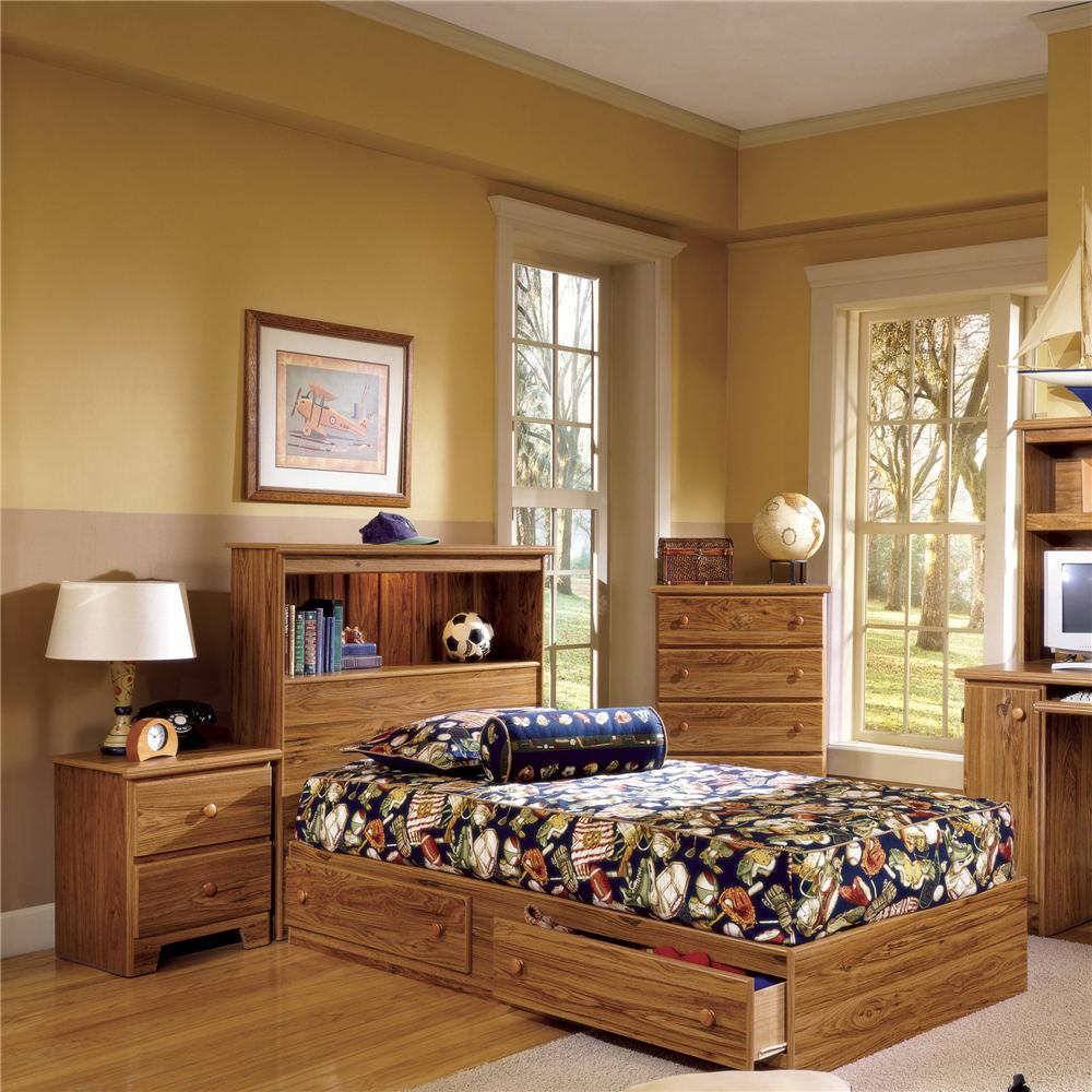 lang shaker full bookcase bed with under bed drawer storage