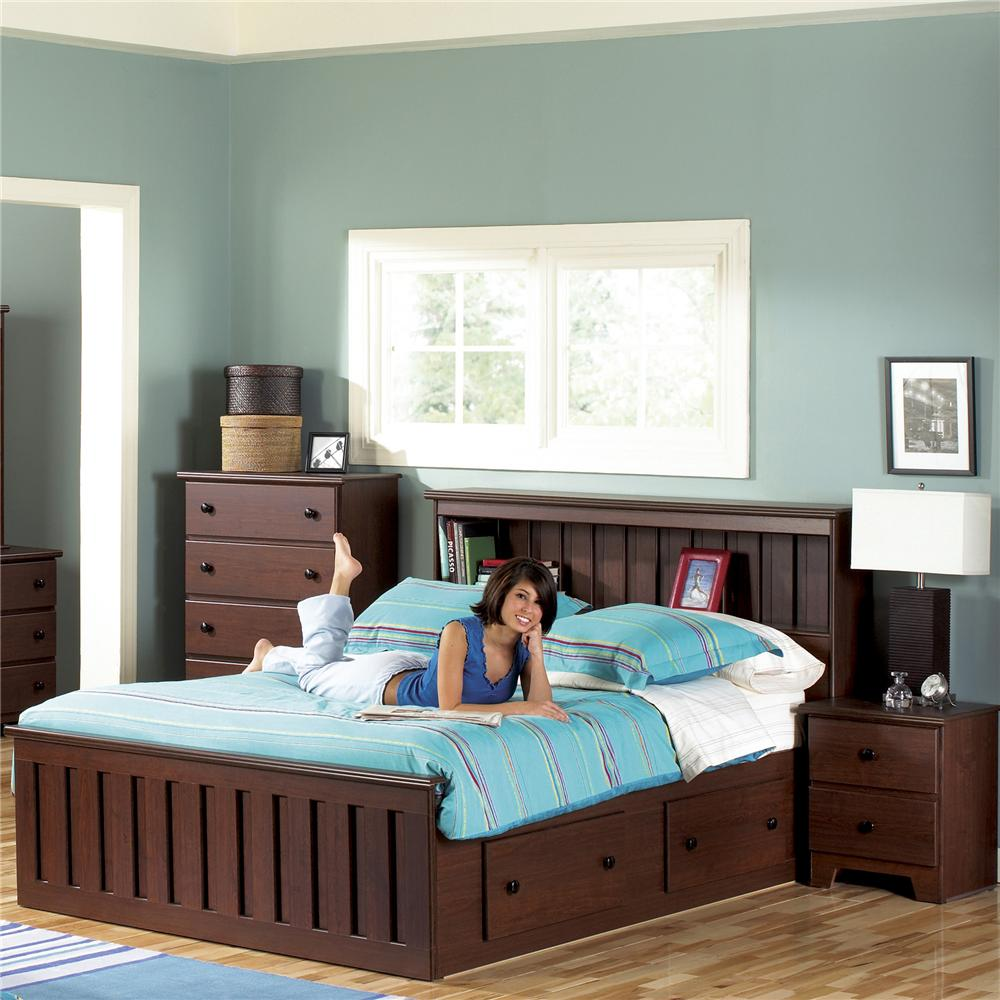 lang shaker queen bookcase bed with under bed drawer storage and interior lighting furniture and appliance bookcase bed