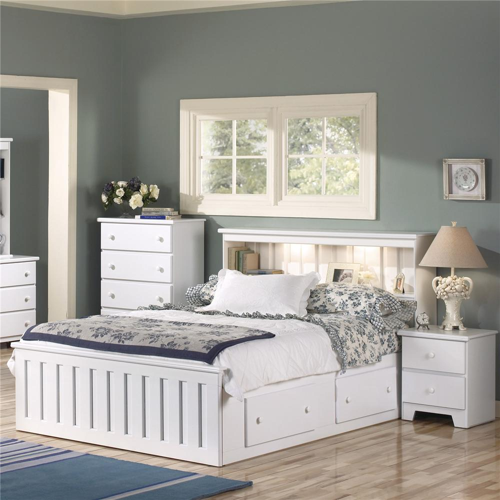 White Shaker Style Bedroom Furniture Lang Shaker Queen Bookcase Bed With Under Bed Drawer Storage And .