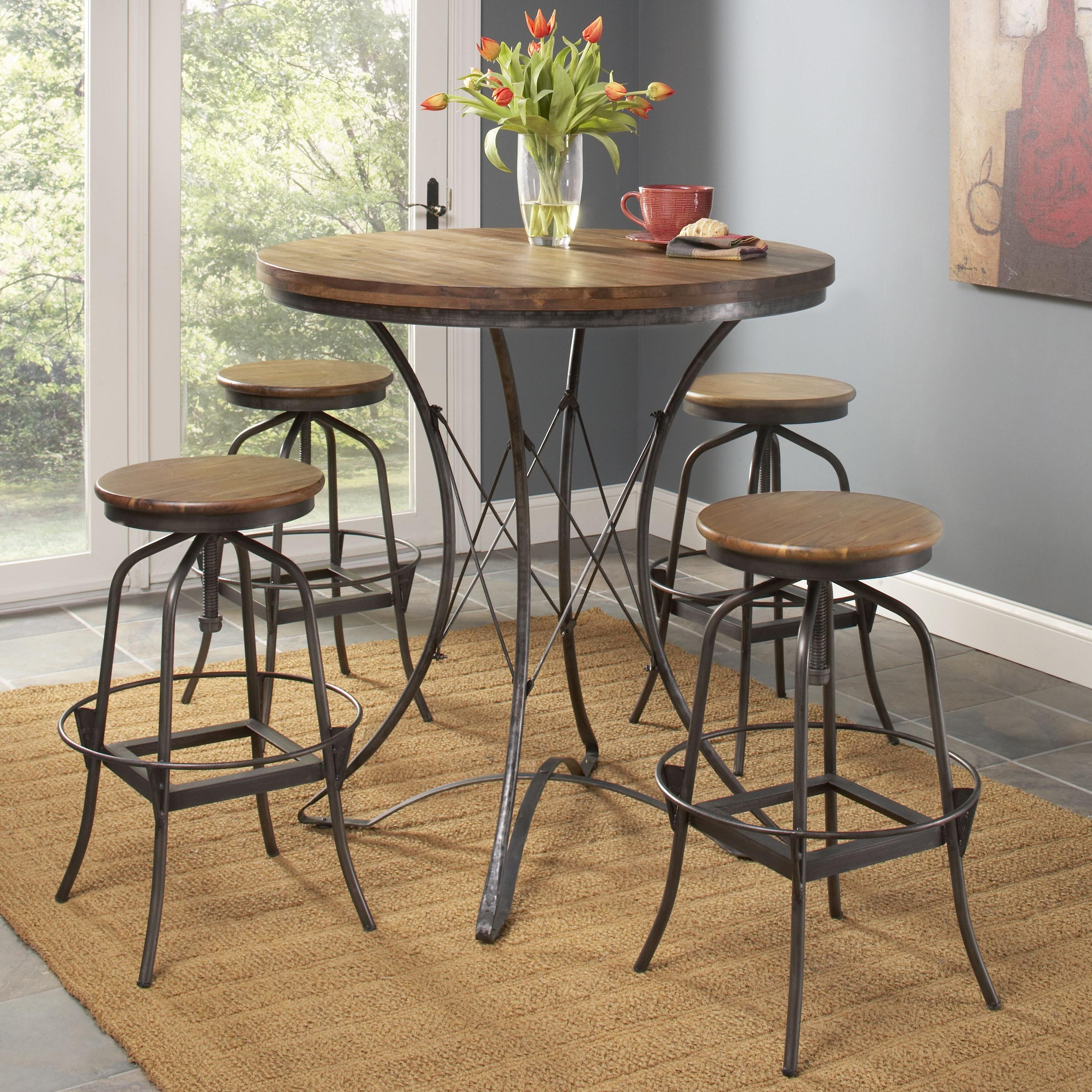 Industrial Pub Table Sets Largo Abbey Five Piece Pub Table And Backless Stools Dining Set