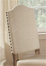 Beige Colored Linen Upholstery with Nail Head Trim