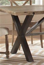 Natural Finished Metal Trestle Base on Rectangle Table