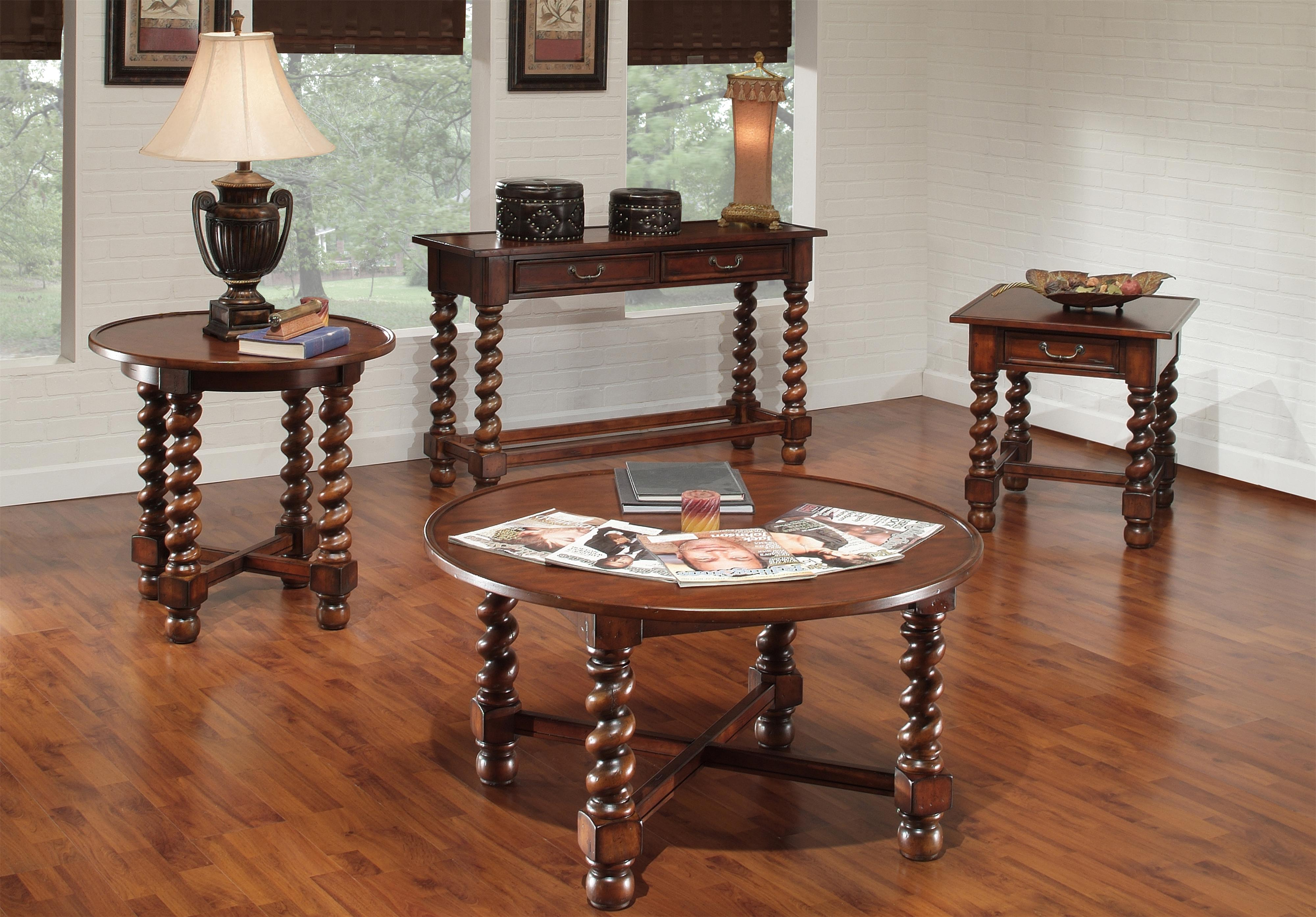 Largo Normandy Round End Table With Antique Oak Finish   Lindyu0027s Furniture  Company   End Table