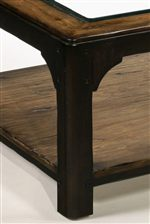 Thick Square Legs with Decorative Corner Brackets