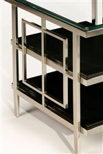 Satin-Finished Nickel Frame with Geometric-Shaped Sides