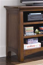 Tapered Feet & Storage Spaces on Media Cabinet.