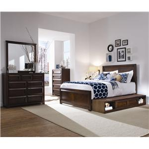 Morris Home Furnishings Roma Full Platform Storage Bed with Bookcase Backboard