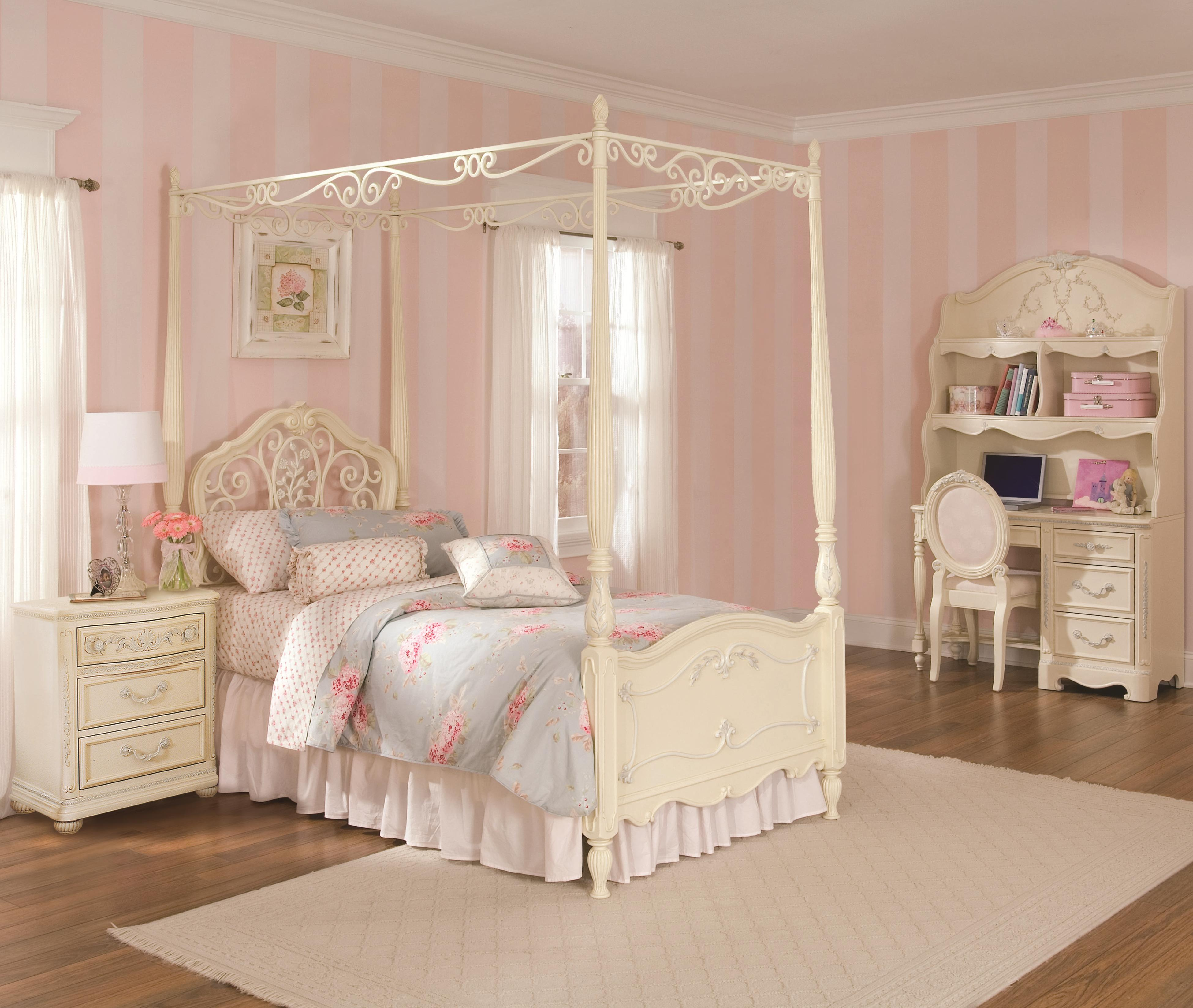 Lea Industries Twin Size Metal Wood Canopy Bed With Scroll Detailing Part Of The Jessica Mcclintock