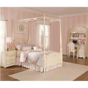 Lea Industries Jessica McClintock Romance Twin Size Metal U0026 Wood Canopy Bed  With Scroll Detailing