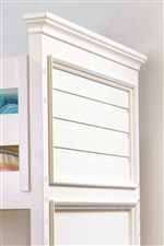 Horizontal Slat Panels Throughout Collection Create Traditional Feel