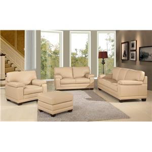 Leather Italia USA Carlisle Casual-Contemporary Ottoman with Wood Feet