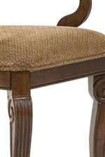 Dining Chairs Feature Padded and Upholstered Seats with Self Welts and Fluted Cabriole Legs
