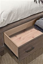 All Bed Frames Offer Optional Storage Footboard with Cedar Lined Bottom Drawers