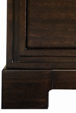 Block Square Legs and Streamlined Raised Molding Accents Enhance Storage Pieces