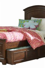 Headboards Paired with Standard Rails Can Accommodate the Trundle Unit When Set to High Locking Position