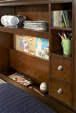 Bookcase Headboards Also Include A Lift Lid Storage Compartment, Drawers and Open Shelves
